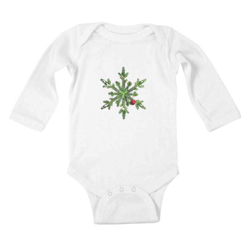 Beautiful Snowy Pine Snowflake Christmas Kids Baby Longsleeve Bodysuit by Boriana's Artist Shop