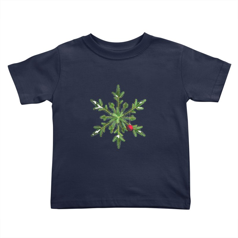 Beautiful Snowy Pine Snowflake Christmas Kids Toddler T-Shirt by Boriana's Artist Shop