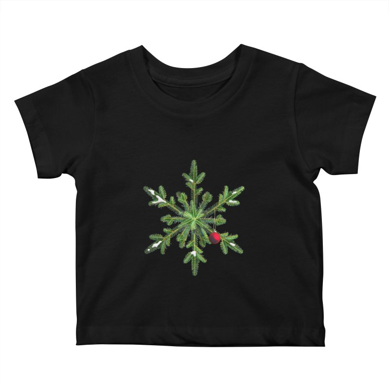 Beautiful Snowy Pine Snowflake Christmas Kids Baby T-Shirt by Boriana's Artist Shop