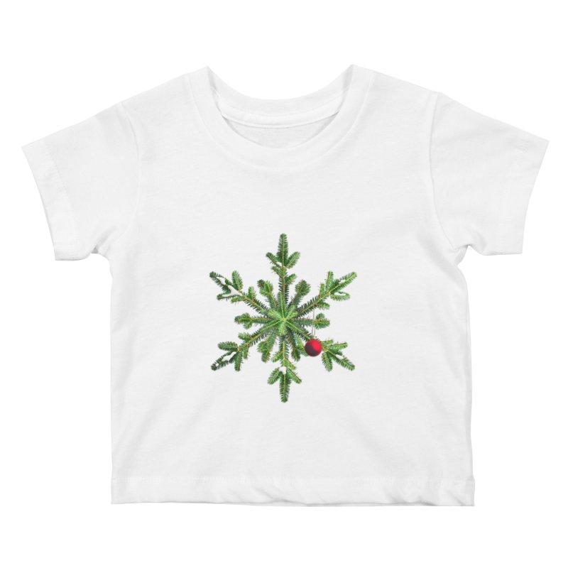 Beautiful Snowy Pine Snowflake Christmas Kids Baby T-Shirt by Boriana's Artist Shop