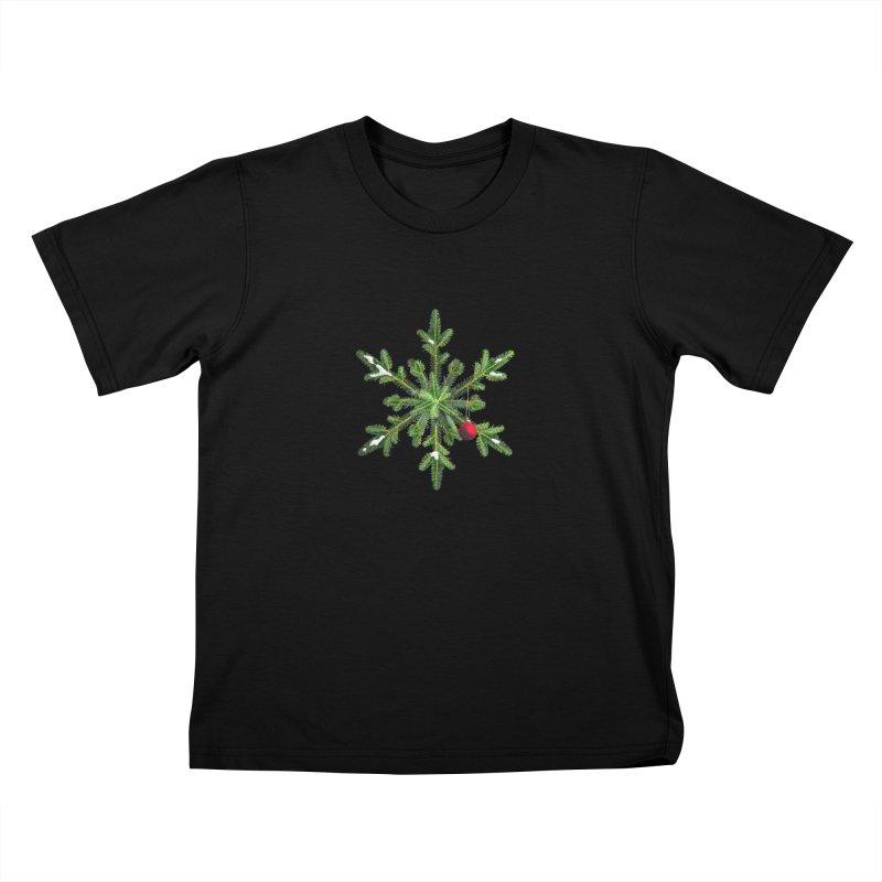 Beautiful Snowy Pine Snowflake Christmas Kids T-Shirt by Boriana's Artist Shop