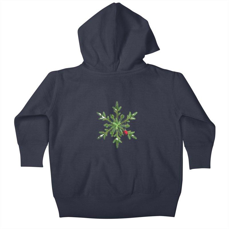 Beautiful Snowy Pine Snowflake Christmas Kids Baby Zip-Up Hoody by Boriana's Artist Shop