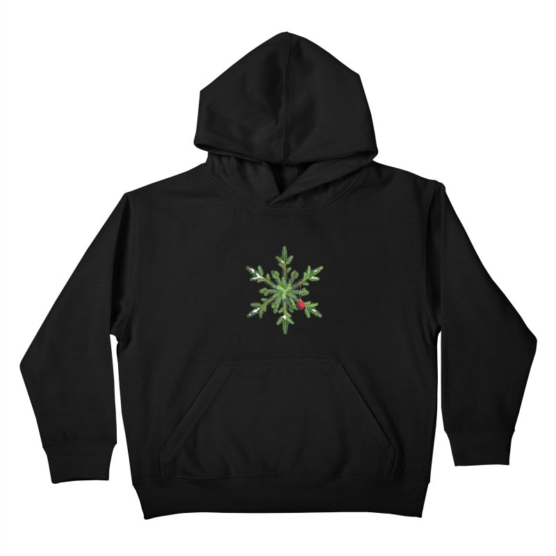 Beautiful Snowy Pine Snowflake Christmas Kids Pullover Hoody by Boriana's Artist Shop