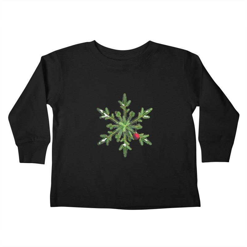 Beautiful Snowy Pine Snowflake Christmas Kids Toddler Longsleeve T-Shirt by Boriana's Artist Shop