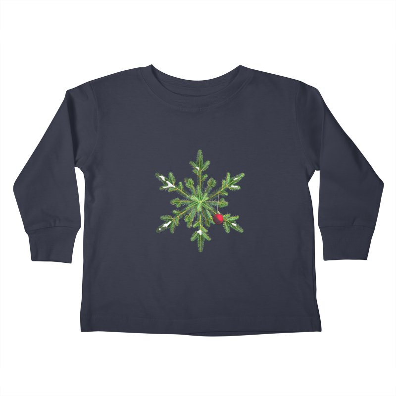 Beautiful Snowy Pine Snowflake Christmas Kids Toddler Longsleeve T-Shirt by Boriana's Artist Shop