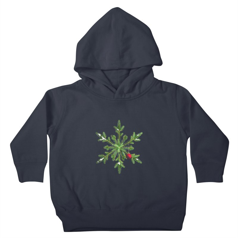Beautiful Snowy Pine Snowflake Christmas Kids Toddler Pullover Hoody by Boriana's Artist Shop