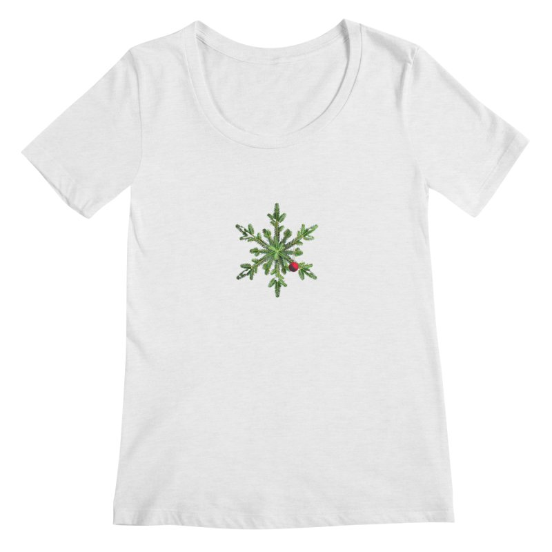 Beautiful Snowy Pine Snowflake Christmas Women's Regular Scoop Neck by Boriana's Artist Shop