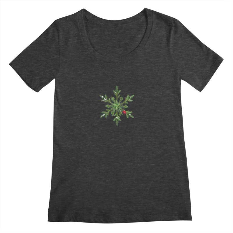 Beautiful Snowy Pine Snowflake Christmas Women's Scoopneck by Boriana's Artist Shop