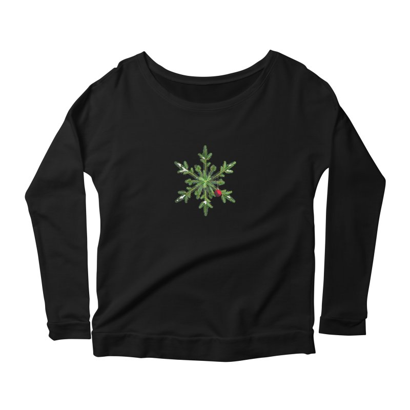 Beautiful Snowy Pine Snowflake Christmas Women's Longsleeve Scoopneck  by Boriana's Artist Shop