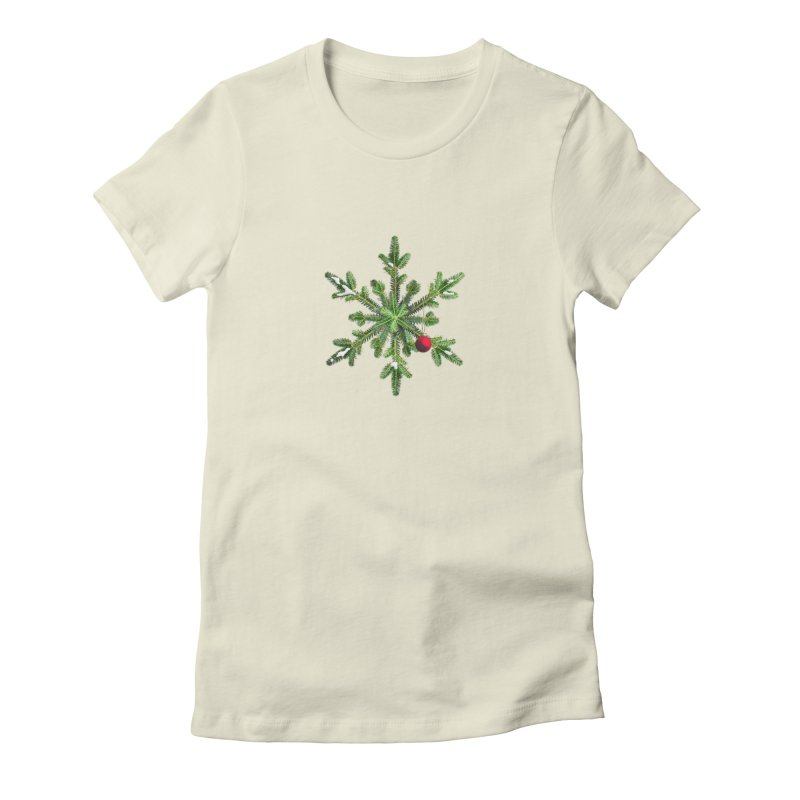 Beautiful Snowy Pine Snowflake Christmas Women's T-Shirt by Boriana's Artist Shop