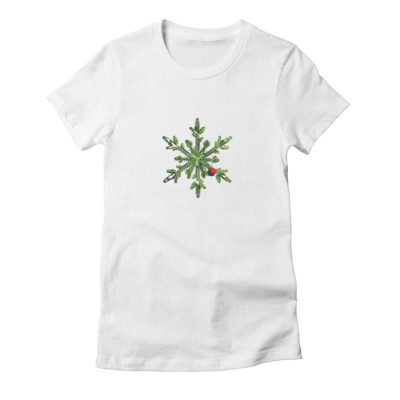 Beautiful Snowy Pine Snowflake Christmas Women's Fitted T-Shirt by Boriana's Artist Shop