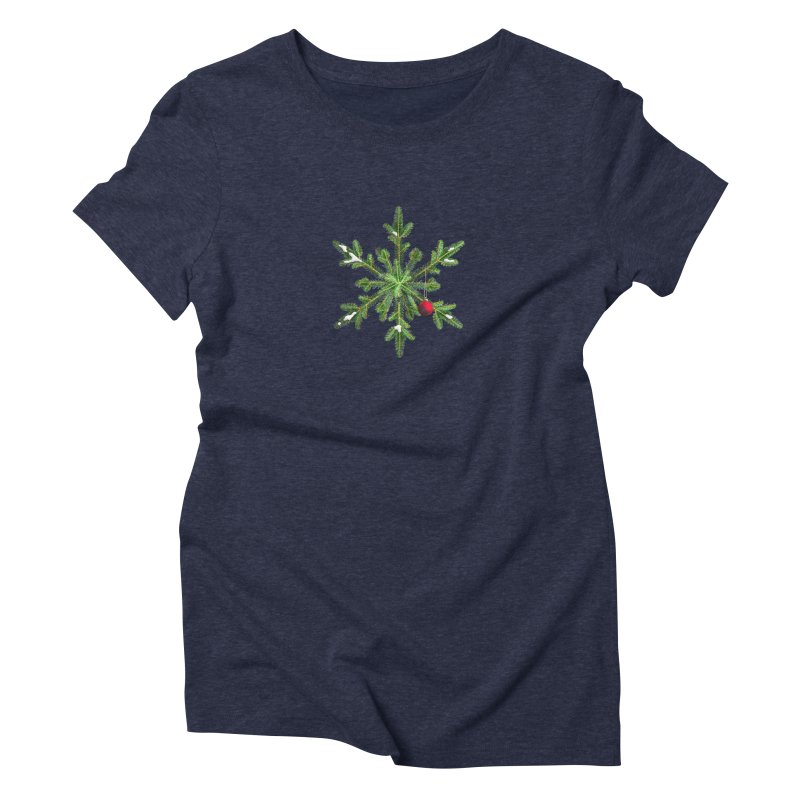 Beautiful Snowy Pine Snowflake Christmas Women's Triblend T-Shirt by Boriana's Artist Shop