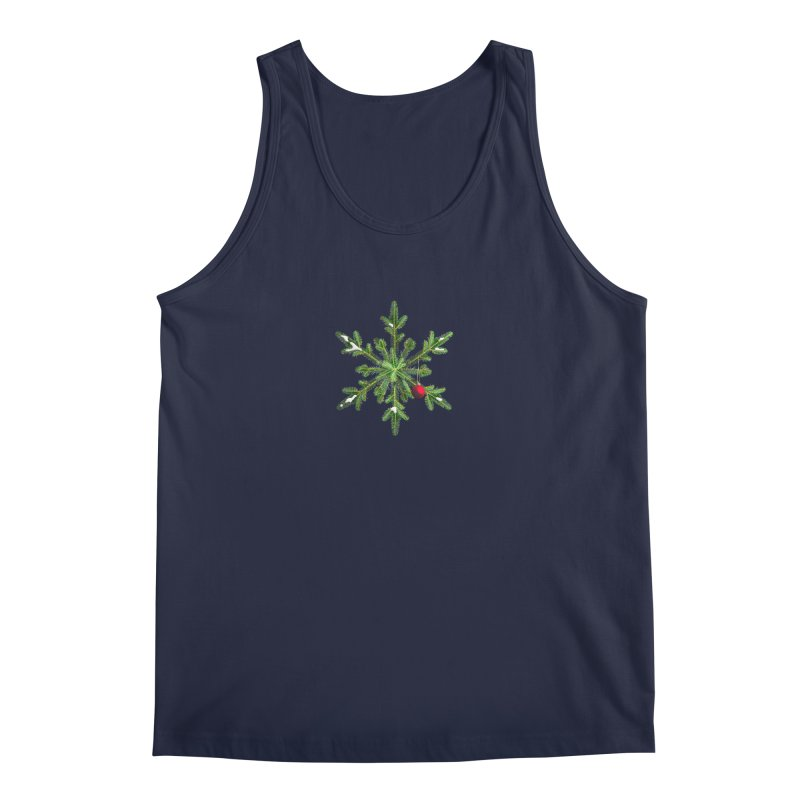 Beautiful Snowy Pine Snowflake Christmas Men's Tank by Boriana's Artist Shop