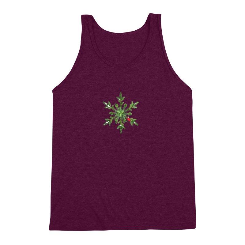 Beautiful Snowy Pine Snowflake Christmas Men's Triblend Tank by Boriana's Artist Shop