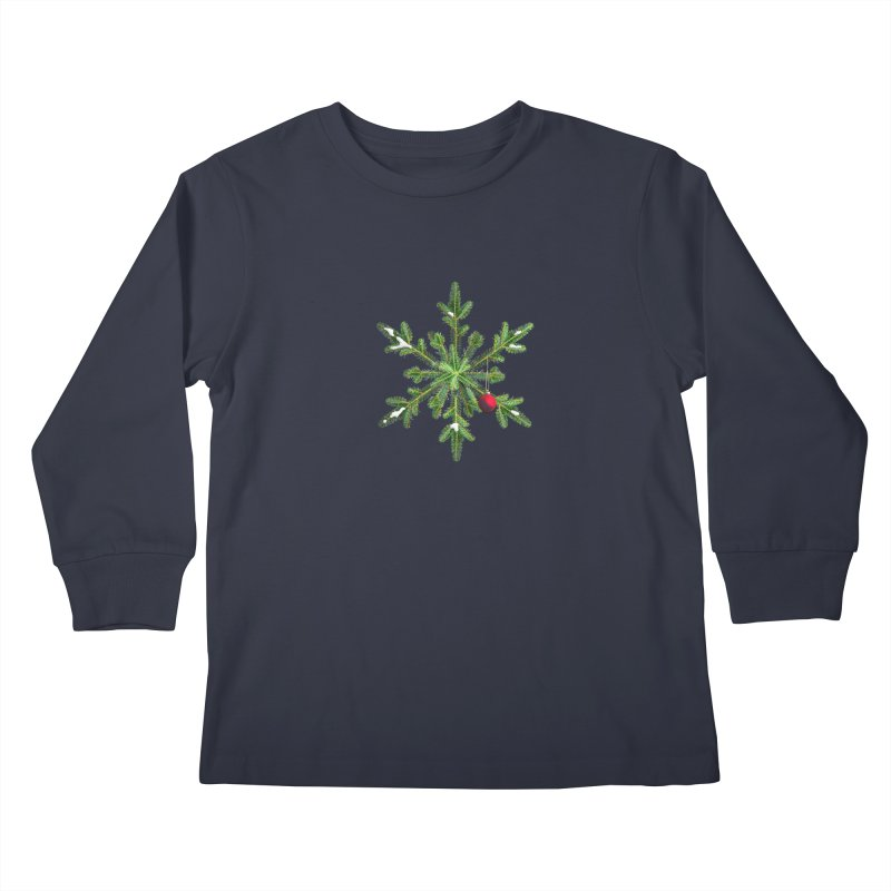 Beautiful Snowy Pine Snowflake Christmas Kids Longsleeve T-Shirt by Boriana's Artist Shop