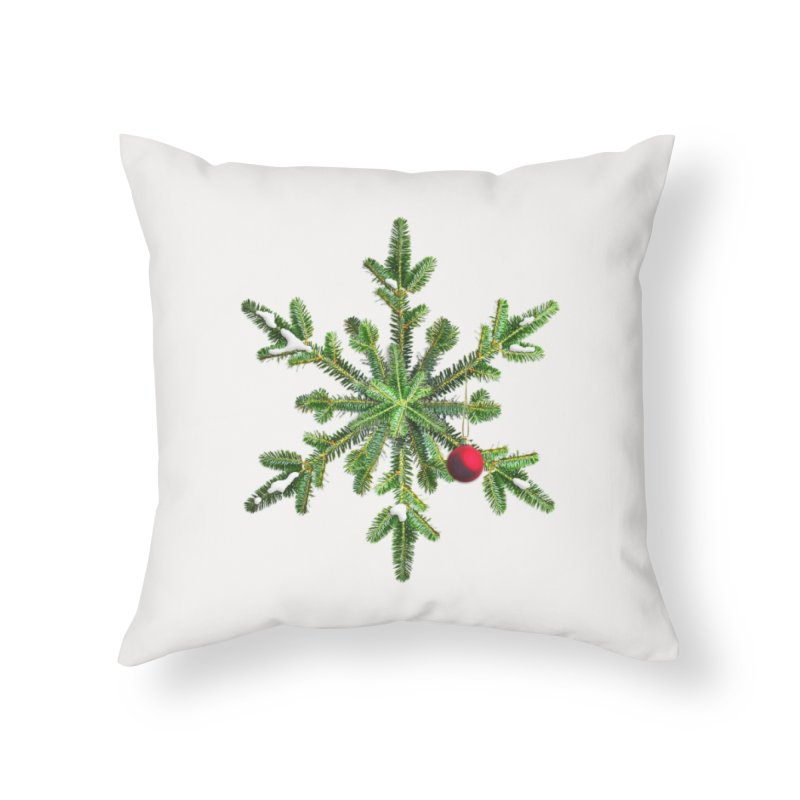 Beautiful Snowy Pine Snowflake Christmas Home Throw Pillow by Boriana's Artist Shop