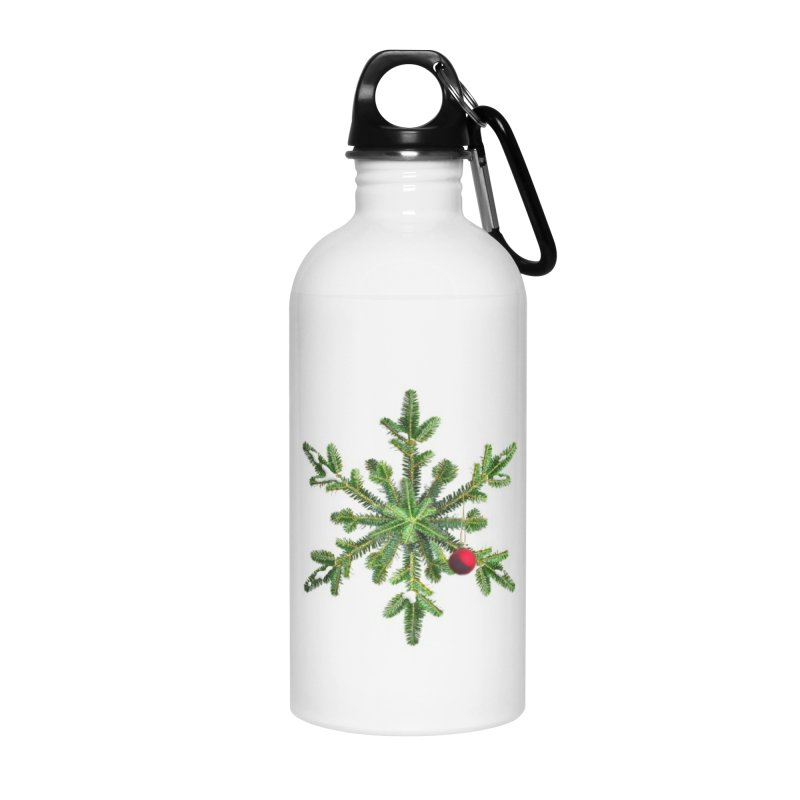 Beautiful Snowy Pine Snowflake Christmas Accessories Water Bottle by Boriana's Artist Shop