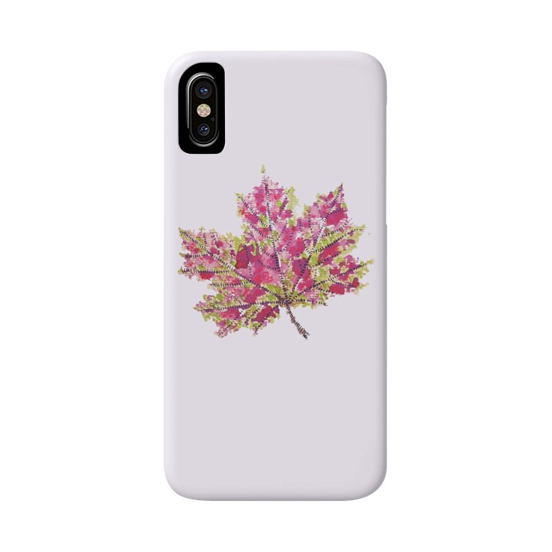 Colorful Watercolor Autumn Leaf In Purple And Green Accessories Phone Case by Boriana's Artist Shop