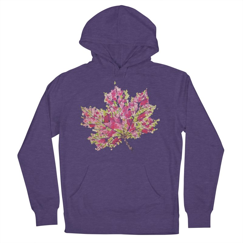 Colorful Watercolor Autumn Leaf In Purple And Green Men's Pullover Hoody by Boriana's Artist Shop