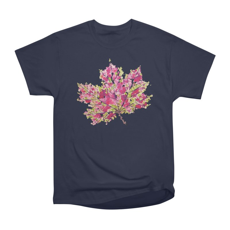Colorful Watercolor Autumn Leaf In Purple And Green Women's Heavyweight Unisex T-Shirt by Boriana's Artist Shop