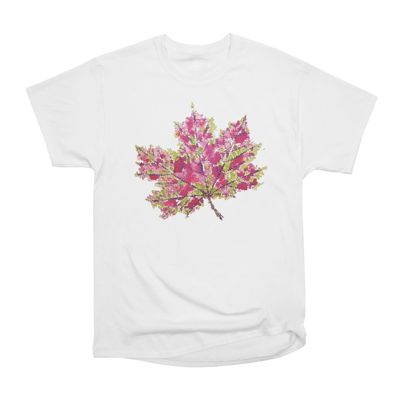 Colorful Watercolor Autumn Leaf In Purple And Green Women's Classic Unisex T-Shirt by Boriana's Artist Shop
