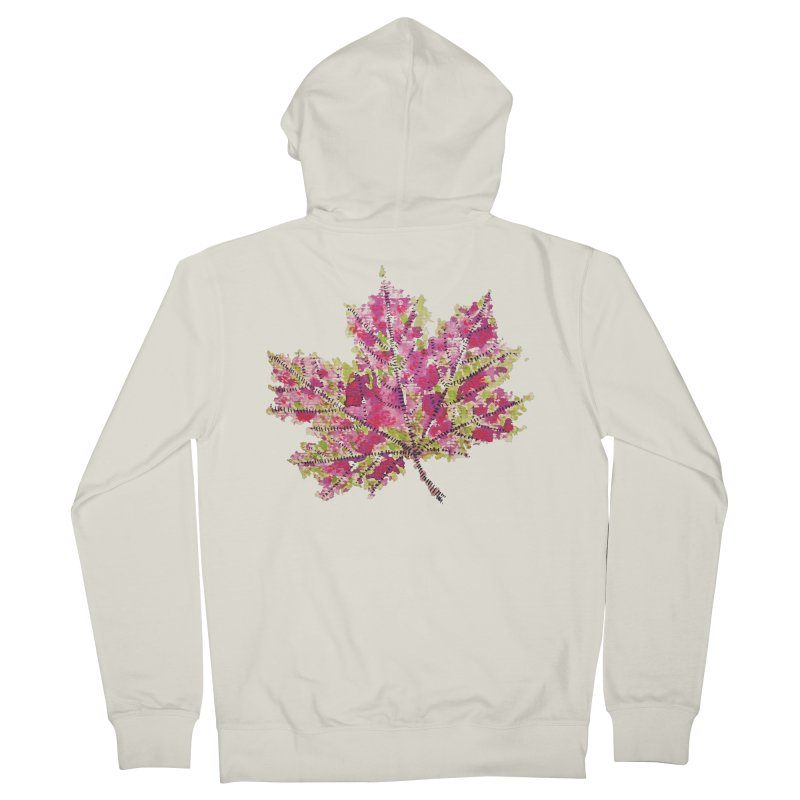 Colorful Watercolor Autumn Leaf In Purple And Green Women's Zip-Up Hoody by Boriana's Artist Shop