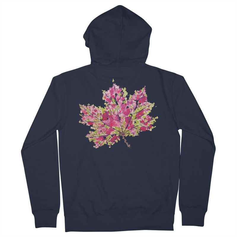 Colorful Watercolor Autumn Leaf In Purple And Green Men's Zip-Up Hoody by Boriana's Artist Shop