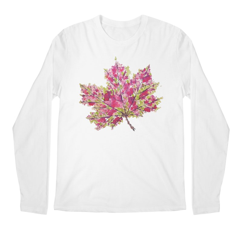 Colorful Watercolor Autumn Leaf In Purple And Green Men's Longsleeve T-Shirt by Boriana's Artist Shop