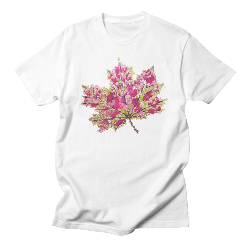 Colorful Watercolor Autumn Leaf In Purple And Green Women's Unisex T-Shirt by Boriana's Artist Shop