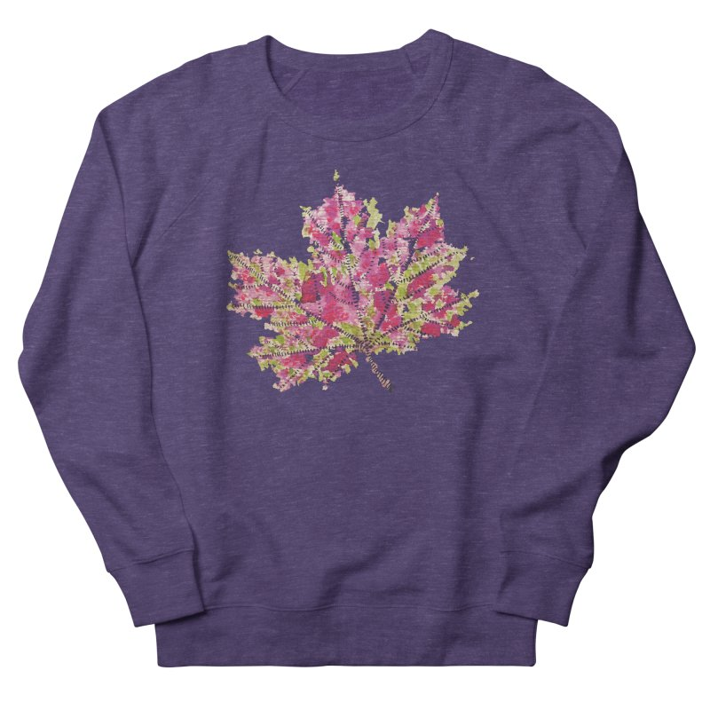 Colorful Watercolor Autumn Leaf In Purple And Green Women's Sweatshirt by Boriana's Artist Shop
