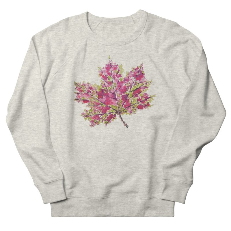 Colorful Watercolor Autumn Leaf In Purple And Green Men's Sweatshirt by Boriana's Artist Shop