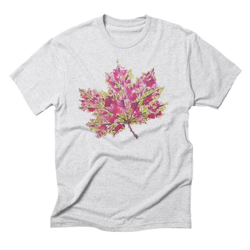 Colorful Watercolor Autumn Leaf In Purple And Green Men's Triblend T-Shirt by Boriana's Artist Shop