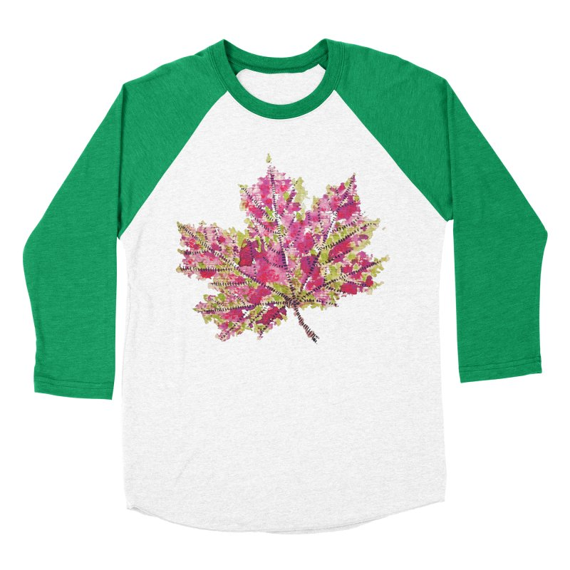 Colorful Watercolor Autumn Leaf In Purple And Green Men's Baseball Triblend T-Shirt by Boriana's Artist Shop