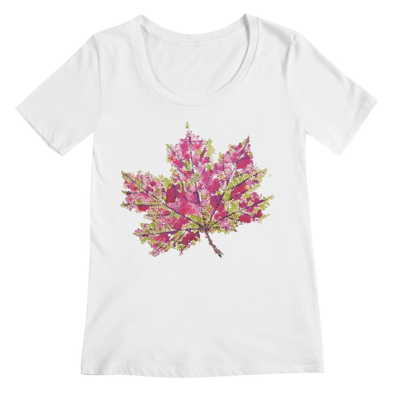 Colorful Watercolor Autumn Leaf In Purple And Green Women's Regular Scoop Neck by Boriana's Artist Shop