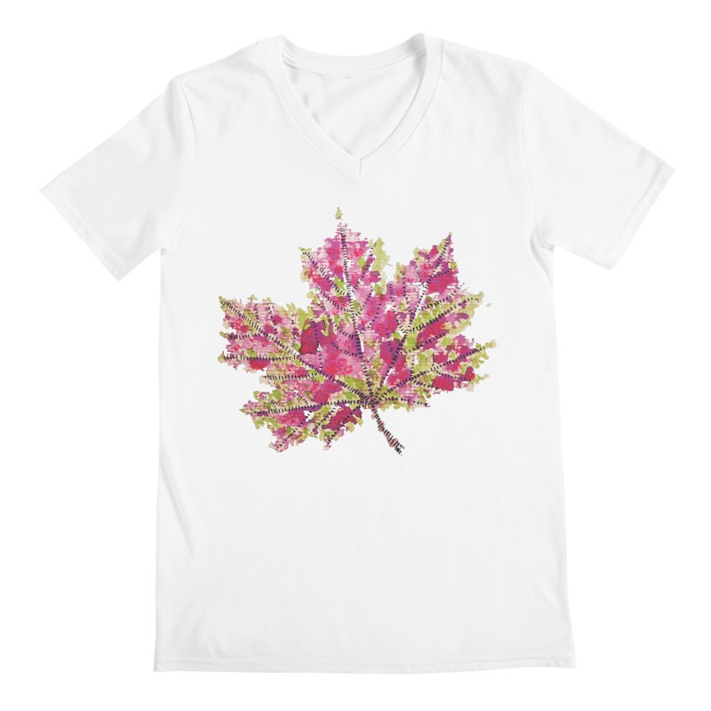 Colorful Watercolor Autumn Leaf In Purple And Green Men's V-Neck by Boriana's Artist Shop