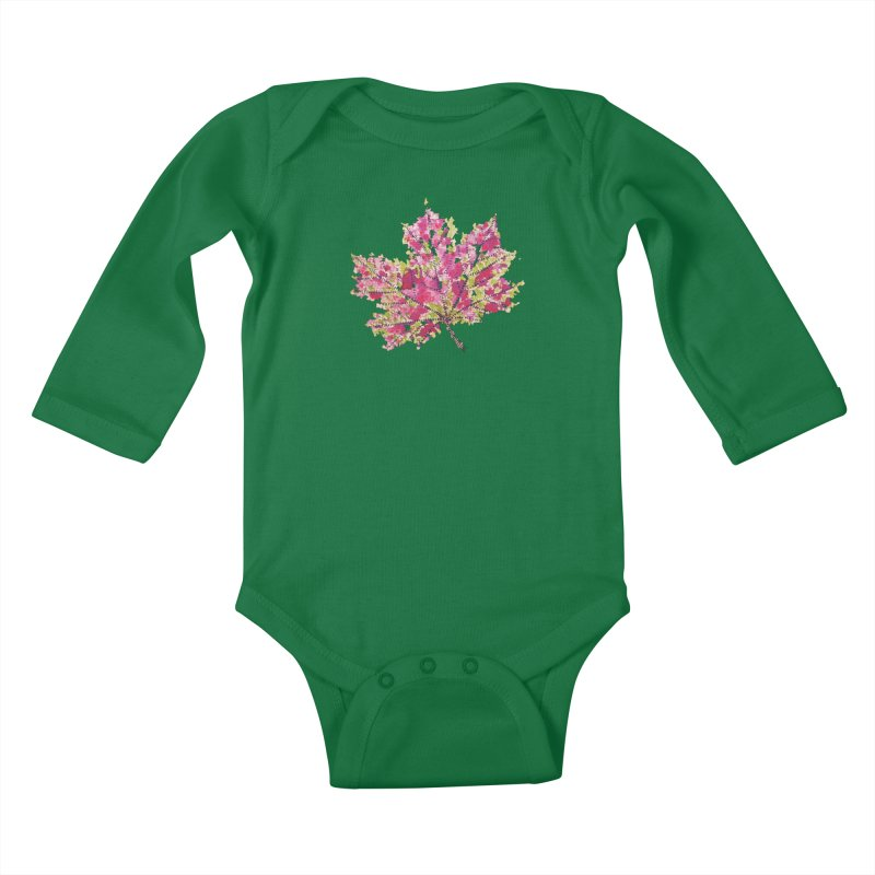Colorful Watercolor Autumn Leaf In Purple And Green Kids Baby Longsleeve Bodysuit by Boriana's Artist Shop