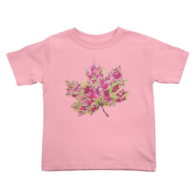 Colorful Watercolor Autumn Leaf In Purple And Green Kids Toddler T-Shirt by Boriana's Artist Shop