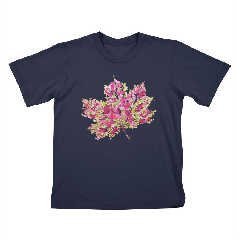 Colorful Watercolor Autumn Leaf In Purple And Green Kids T-Shirt by Boriana's Artist Shop