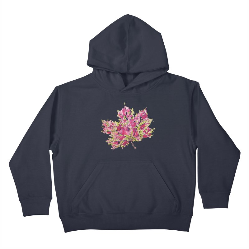 Colorful Watercolor Autumn Leaf In Purple And Green Kids Pullover Hoody by Boriana's Artist Shop