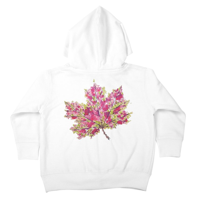 Colorful Watercolor Autumn Leaf In Purple And Green Kids Toddler Zip-Up Hoody by Boriana's Artist Shop
