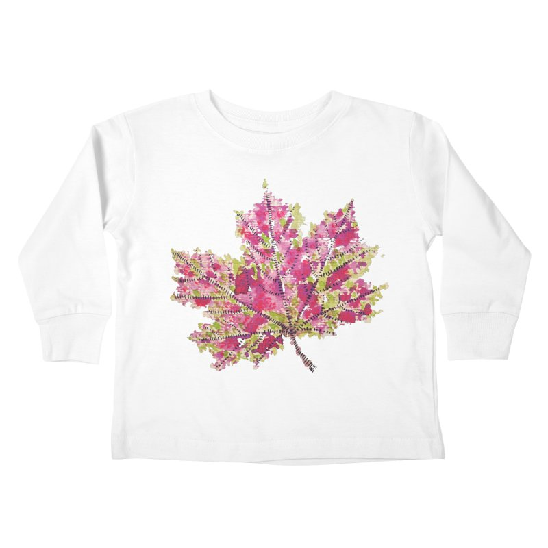 Colorful Watercolor Autumn Leaf In Purple And Green Kids Toddler Longsleeve T-Shirt by Boriana's Artist Shop