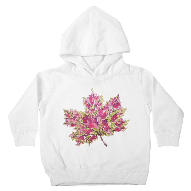Colorful Watercolor Autumn Leaf In Purple And Green Kids Toddler Pullover Hoody by Boriana's Artist Shop