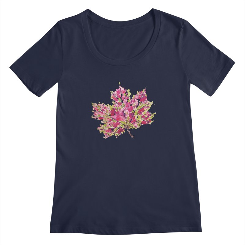 Colorful Watercolor Autumn Leaf In Purple And Green Women's Scoopneck by Boriana's Artist Shop