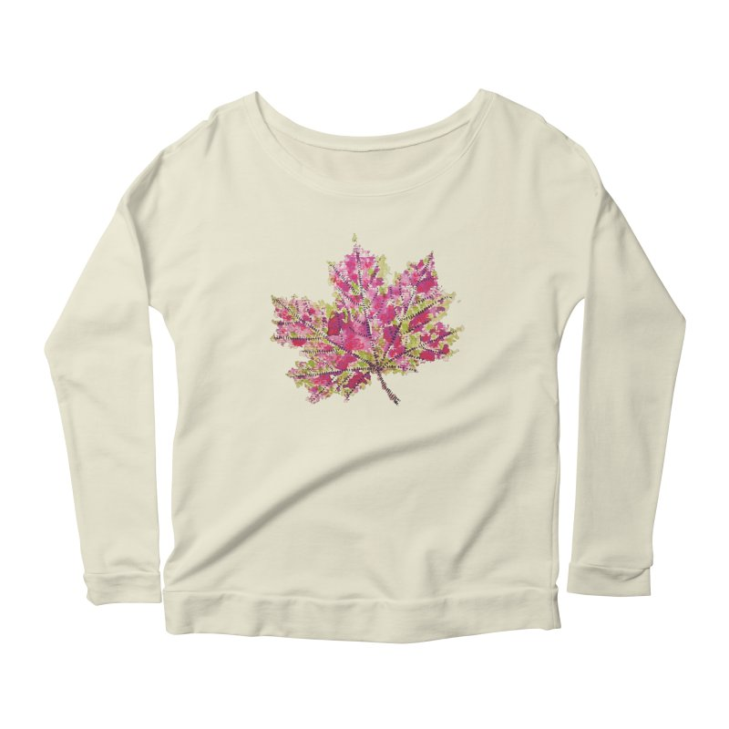Colorful Watercolor Autumn Leaf In Purple And Green Women's Longsleeve Scoopneck  by Boriana's Artist Shop