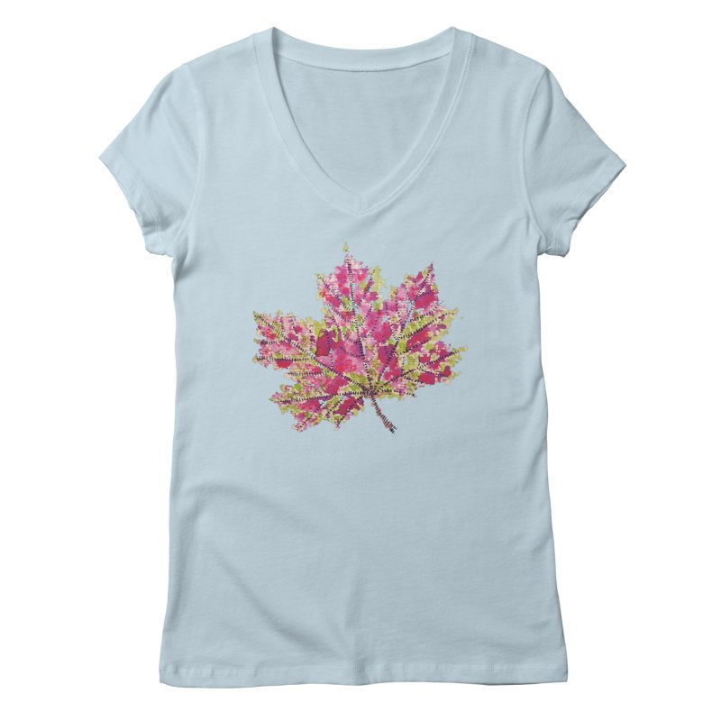 Colorful Watercolor Autumn Leaf In Purple And Green Women's V-Neck by Boriana's Artist Shop