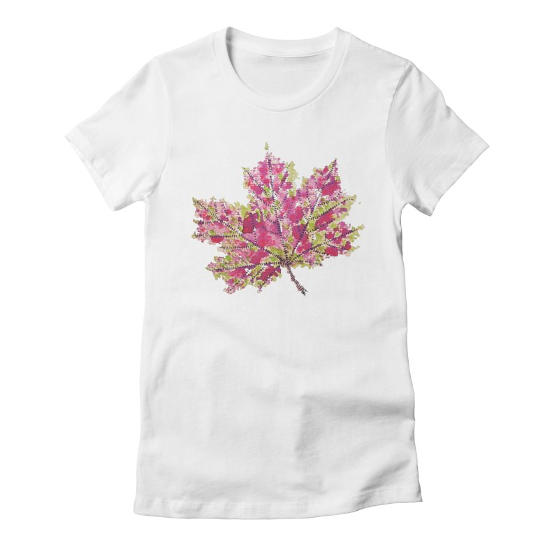Colorful Watercolor Autumn Leaf In Purple And Green Women's Fitted T-Shirt by Boriana's Artist Shop