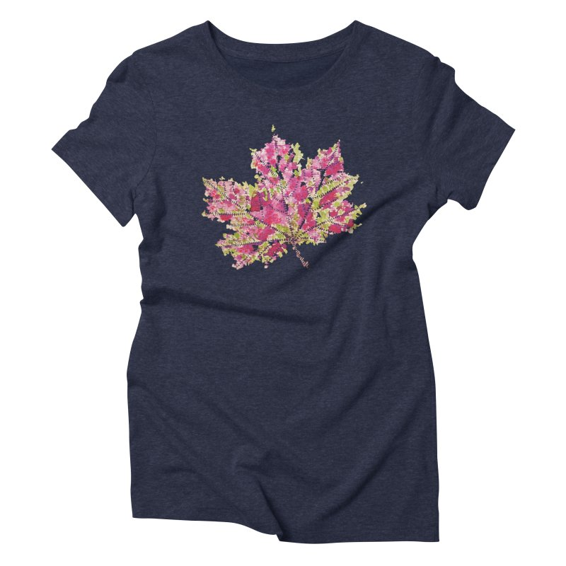 Colorful Watercolor Autumn Leaf In Purple And Green Women's Triblend T-Shirt by Boriana's Artist Shop