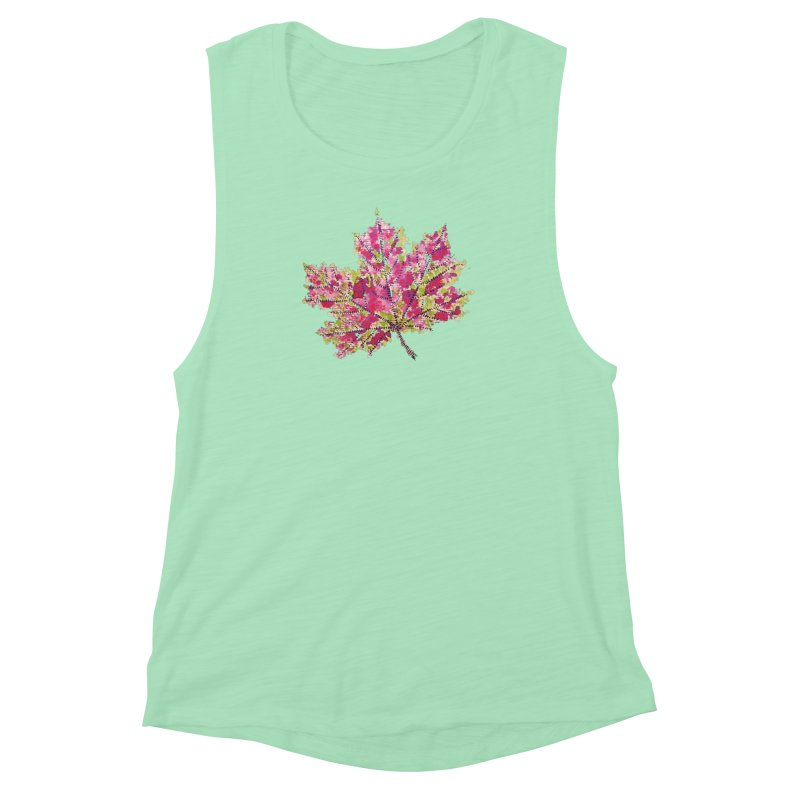 Colorful Watercolor Autumn Leaf In Purple And Green Women's Muscle Tank by Boriana's Artist Shop