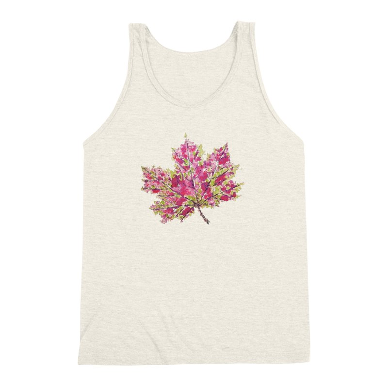 Colorful Watercolor Autumn Leaf In Purple And Green Men's Triblend Tank by Boriana's Artist Shop