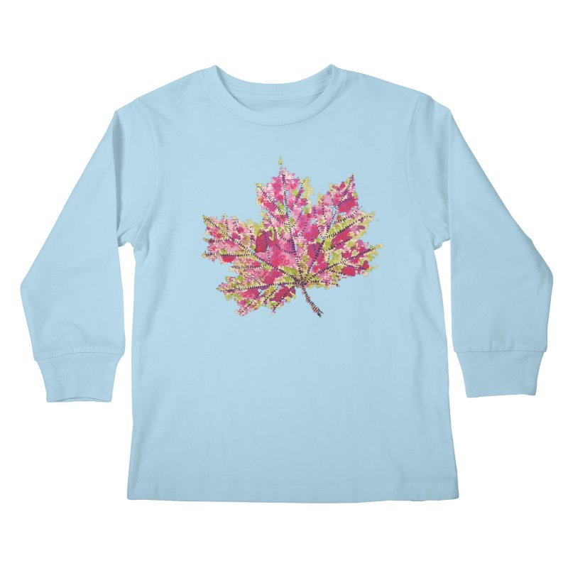 Colorful Watercolor Autumn Leaf In Purple And Green Kids Longsleeve T-Shirt by Boriana's Artist Shop